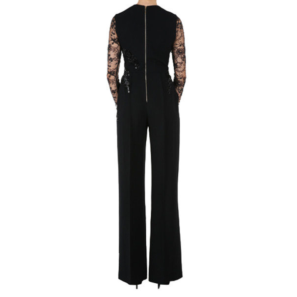 Elie Saab Black Long-Sleeved Embroidered Jumpsuit S