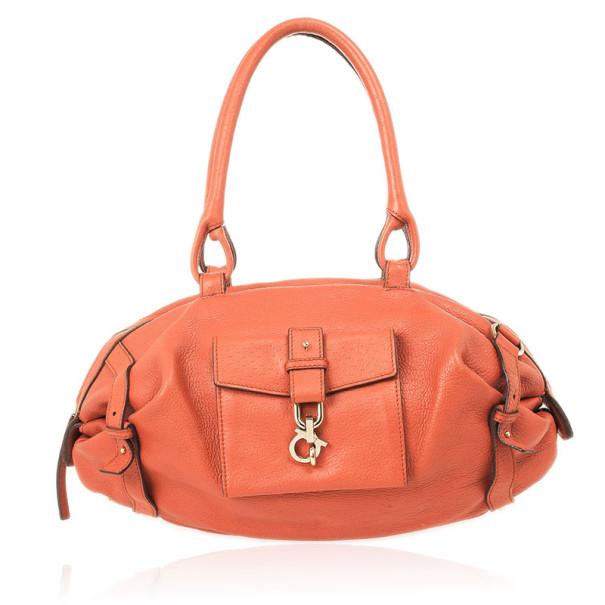 Salvatore Ferragamo Orange Pebbled Leather Satchel