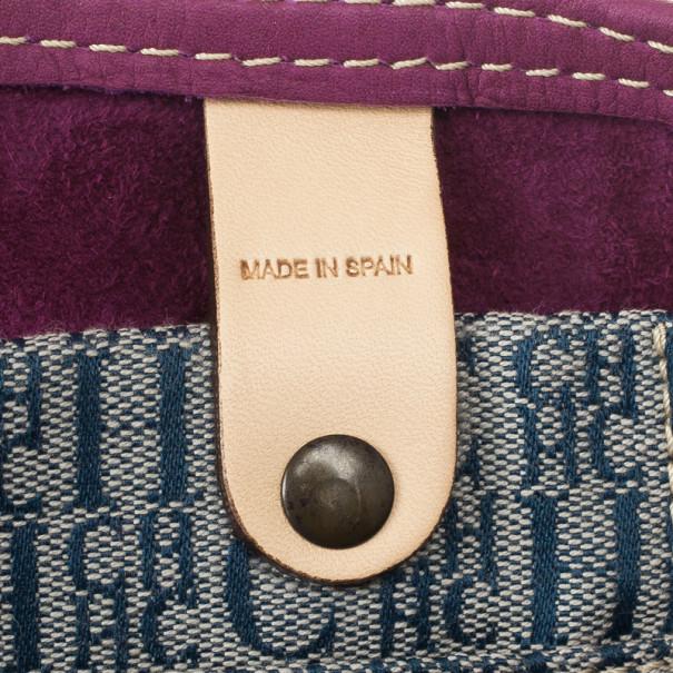 Carolina Herrera Leather Purple CH Monogram Tote