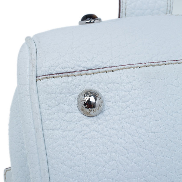 Dolce and Gabbana White Pebbled Leather Satchel