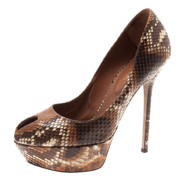 under 70 dollars buy cheap outlet locations Sergio Rossi Python Peep-Toe Pumps cheap visit factory outlet cheap largest supplier TRtVaj4lQC
