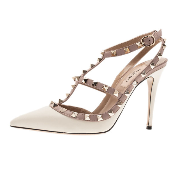 Valentino Ivory Leather Rockstud Sandals Size 38