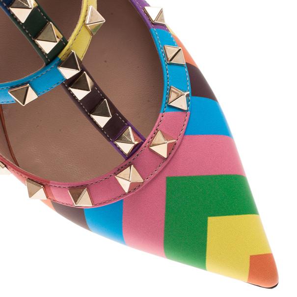 Valentino Multicolor Striped Rockstud Sandals Size 39