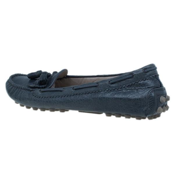 Balenciaga Grey Leather Arena Brogue Loafers Size 40
