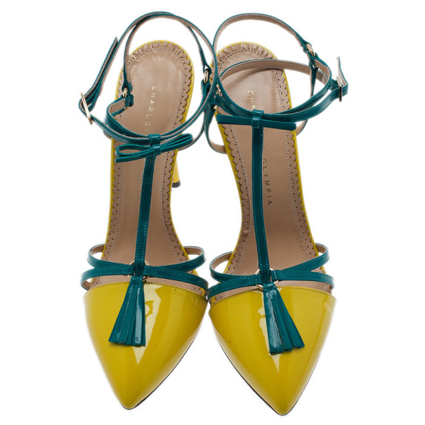Charlotte Olympia Neon Patent Trixie T-Strap Sandals Size 40