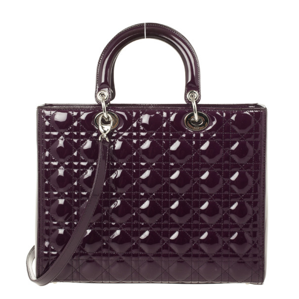 Christian Dior Purple Patent  Lady Dior Bag