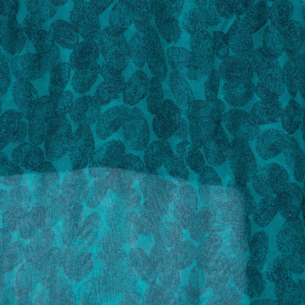Saint Laurent Paris Green Finger Print Silk Top M