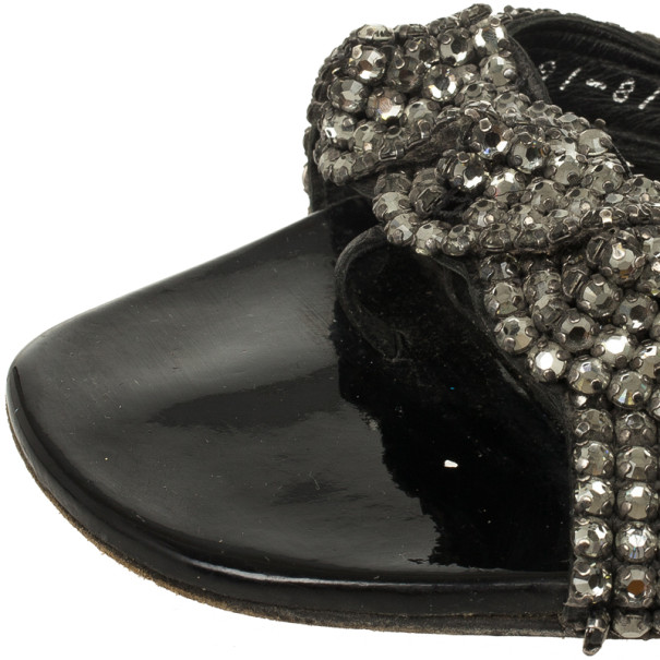 Gina Black Crystal Embellished Flat Slides Size 38