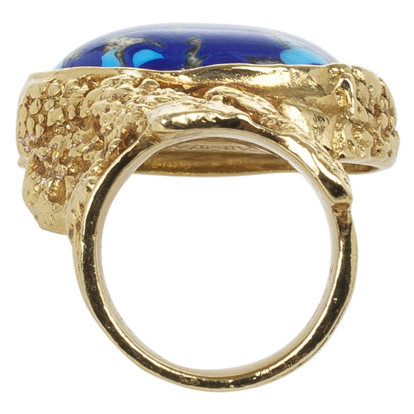 Saint Laurent Arty Blue Oval Ring Size 49