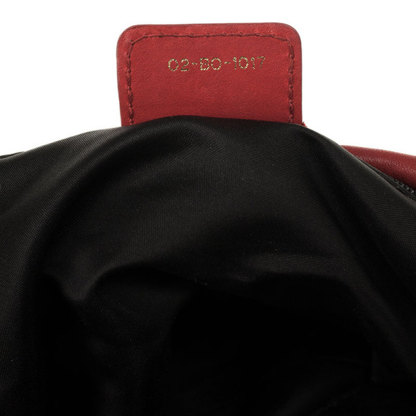 Christian Dior Red Gypsy Ruffles Hobo Shoulder Bag
