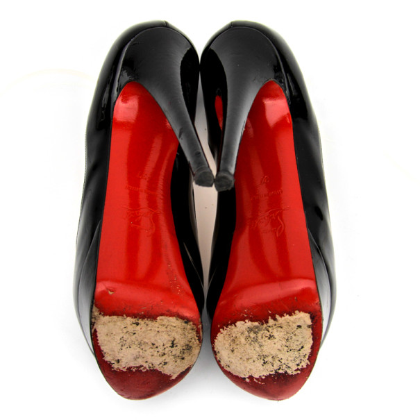 Christian Louboutin Black Patent Leather 'Lady Peep' Toe Platform Pumps Size 37