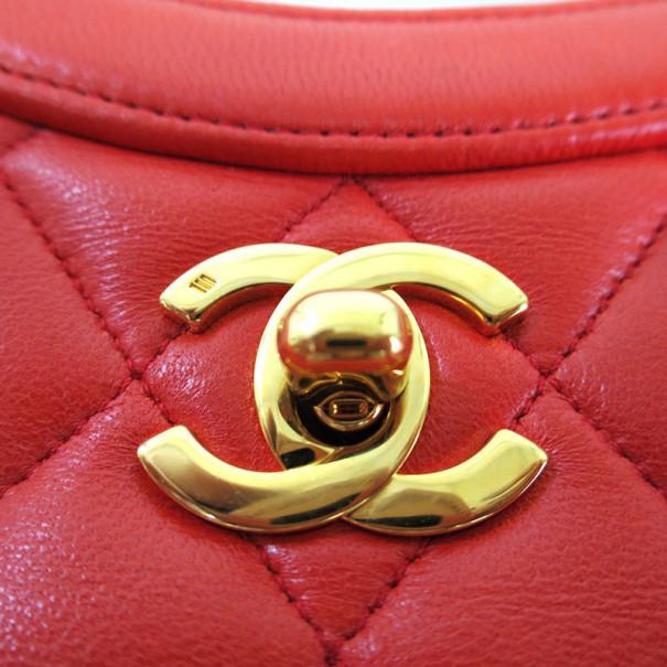 Chanel Orange Lambskin Top Handle Bag