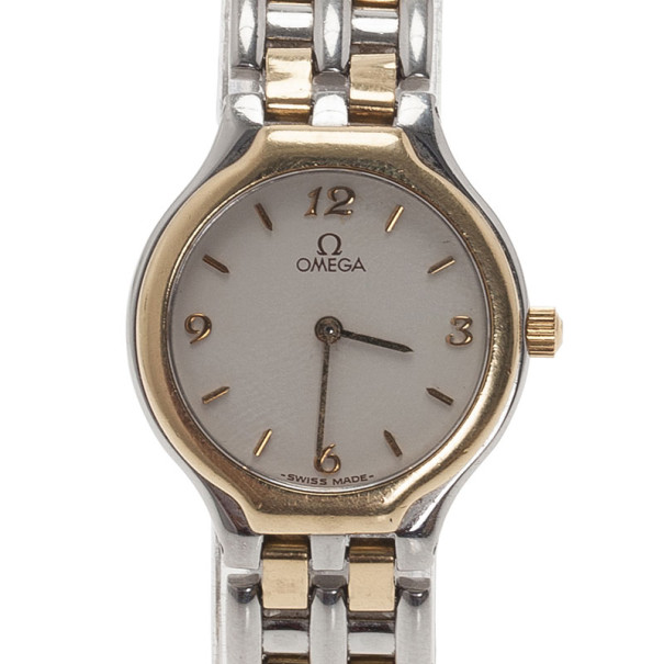 Omega White Stainless Steel Classic Women's Wristwatch 28MM