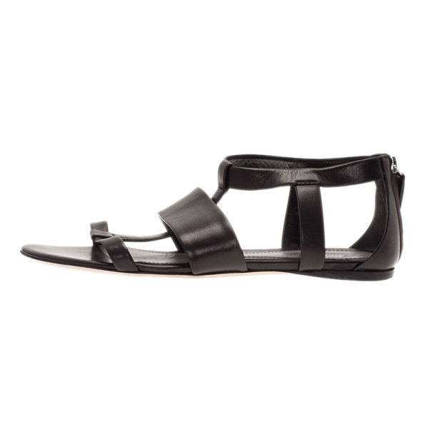 Gucci Black Leather Belle Flat Gladiator Sandals Size 38