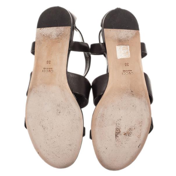 Gucci Black Leather Belle Flat Gladiator Sandals Size 38