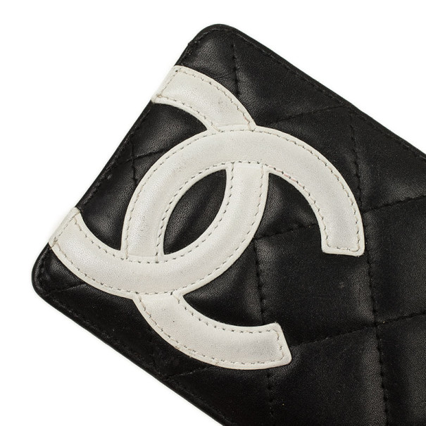 Chanel Black Lambskin Cambon Quilted Leather Card Holder
