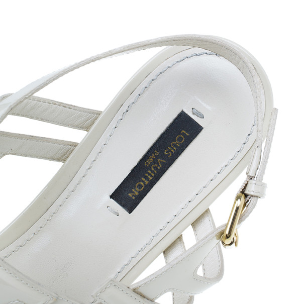 Louis Vuitton Cream Patent Leather Crossing Flat Sandals Size 41