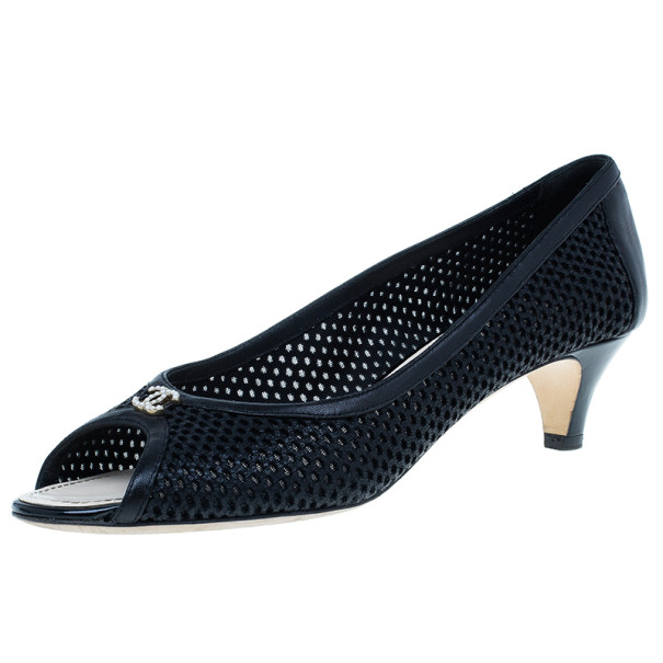 Chanel Black Perforated Leather CC Peep Toe Pumps Size 39.5