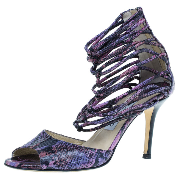 Jimmy Choo Purple Python Embossed Leather Quantum Strappy Sandals Size 38.5