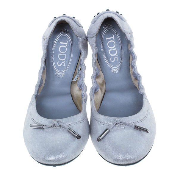 Tod's Silver Leather Dee Ballet Flats Size 39