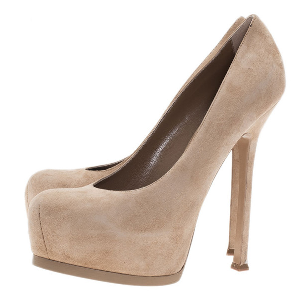 Saint Laurent Paris Beige Suede Tribtoo Platform Pumps Size 40.5