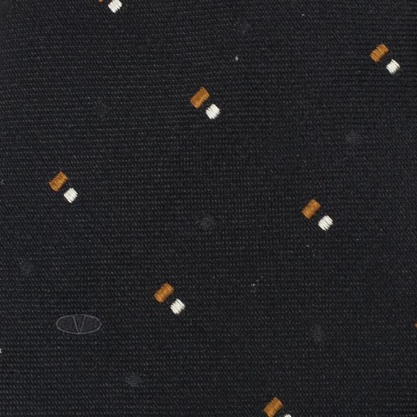 Valentino Black Woven Silk Tie