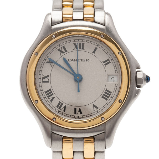 Cartier White Stainless Steel Panthere Women's Wristwatch 26MM