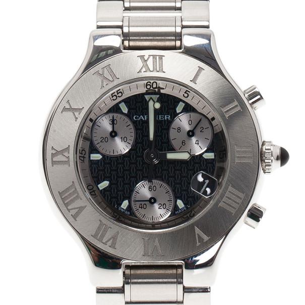 Cartier Black Stainless Steel Chronoscaph Women's Wristwatch 38MM