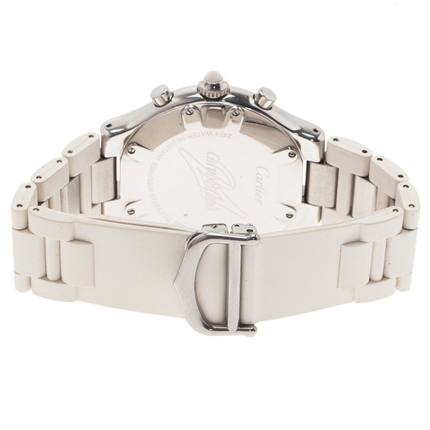 Cartier White Stainless Steel Must 21 Chronoscaph Women's Wristwatch 38MM