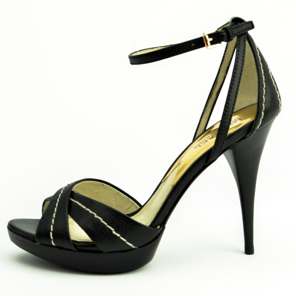 MICHAEL Michael Kors Black Leather Eleni Ankle Strap Sandals Size 38.5