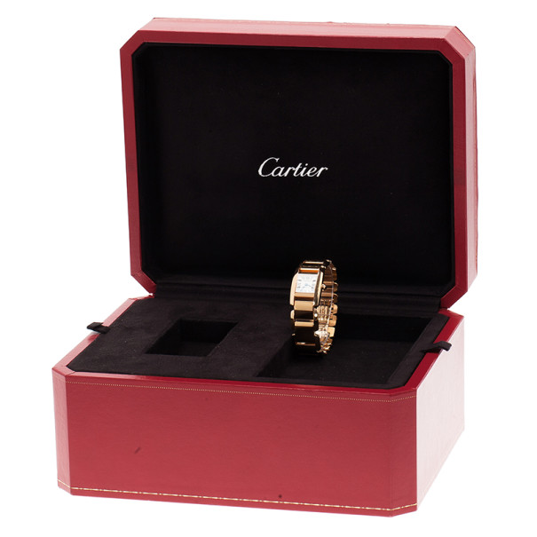 Cartier Rose Gold White Millessime Women's Wristwatch 20MM