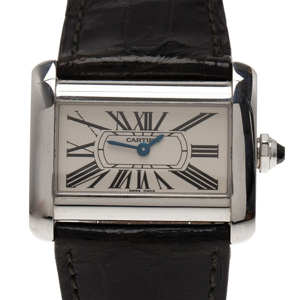 Cartier White Stianless Steel Divan SM Women's Wristwatch 30MM