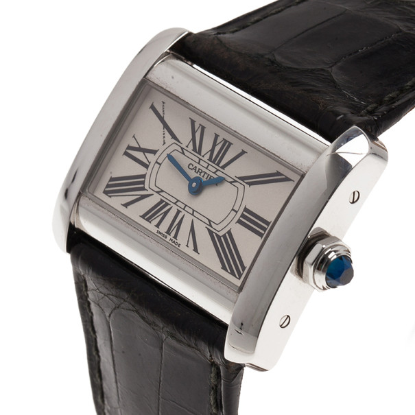 Cartier White Stianless Steel Divan SM Women's Wristwatch 30MM