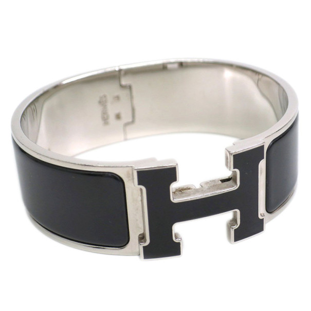 Hermes Clic Clac H Wide Black Enameled H Palladium Plated Bracelet PM