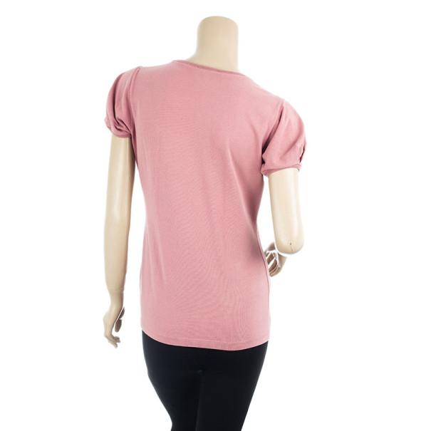 Burberry Pink Cotton Logo T Shirt M
