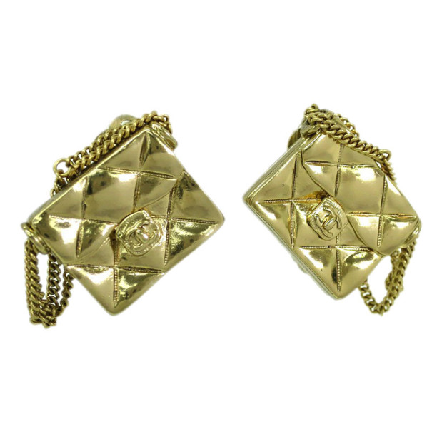 Chanel Flap Bag Gold Tone Clip On Earrings