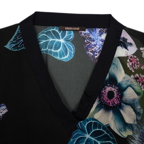 Roberto Cavalli Floral Print Silk Blouse L