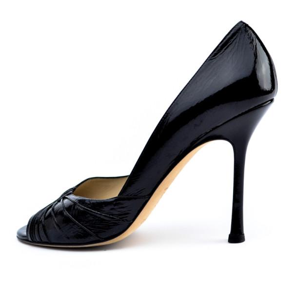 Jimmy Choo Black Patent Peep Toe Pleated Pumps Size 40.5