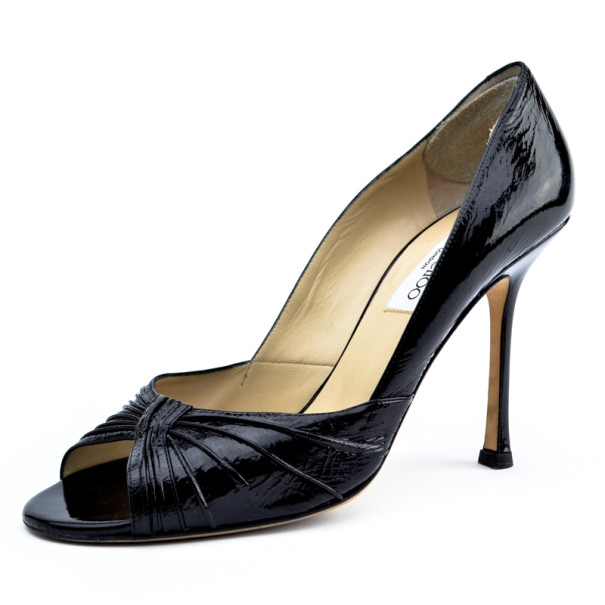 Jimmy Choo Black Patent Peep Toe Pleated Pumps Size 40.5