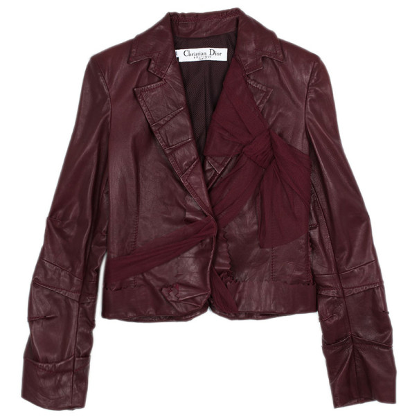 Christian Dior Leather Bow Jacket L