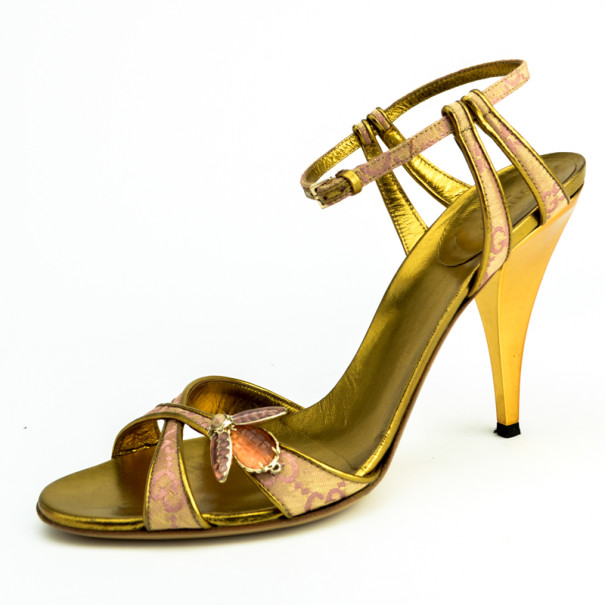 Gucci Begonia Rose GG Canvas Bee Jewel Sandals Size 39