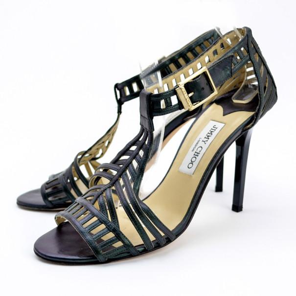 Jimmy Choo Metallic Cutout Strappy Sandals Size 40.5