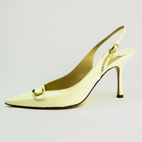 Jimmy Choo White Pointed Toe Slingback Sandals Size 40