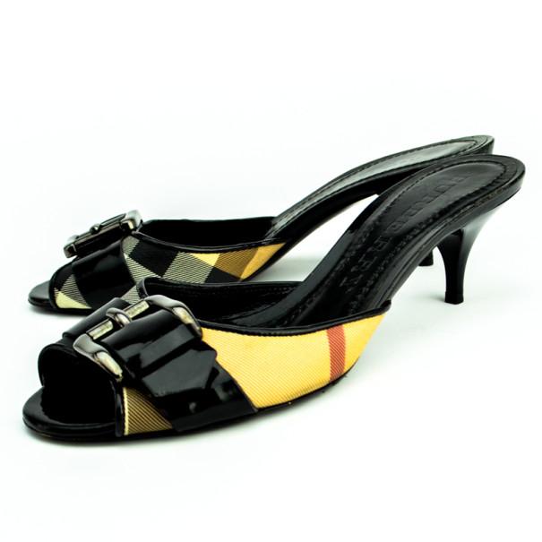 Burberry Nova Check Kitten Heel Slides Size 37 - Buy & Sell - LC