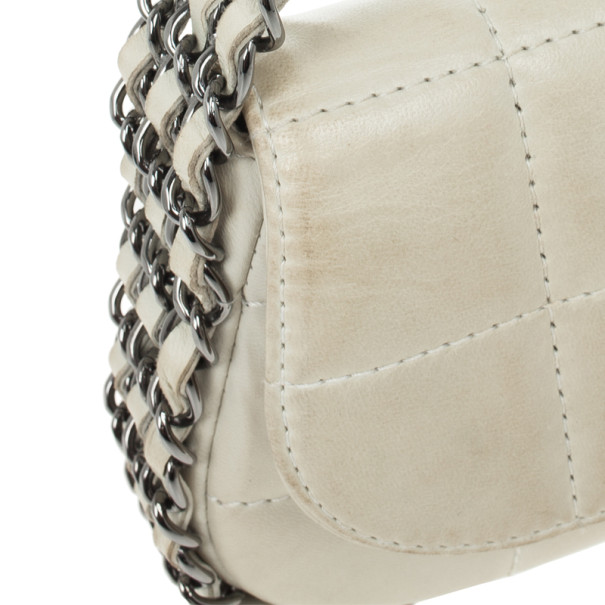Chanel White Leather Multi Chain Classic Flap Bag
