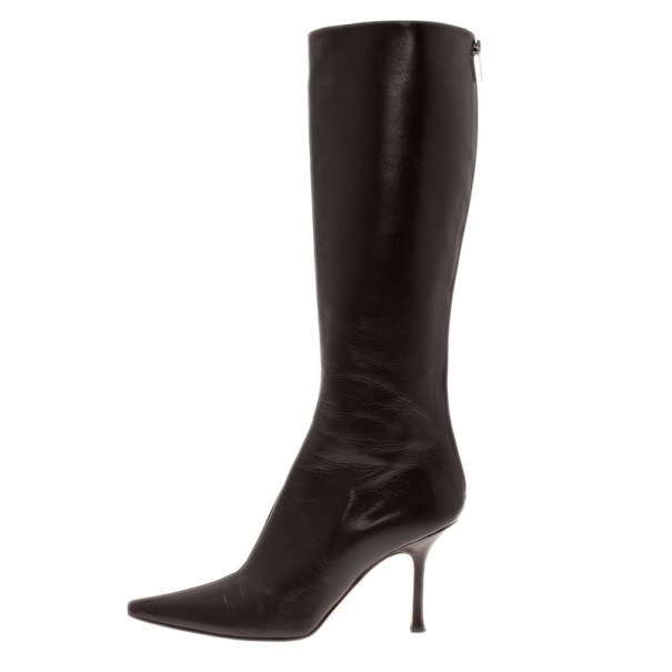Jimmy Choo Brown Leather Pointed Toe Knee Boots Size 39.5