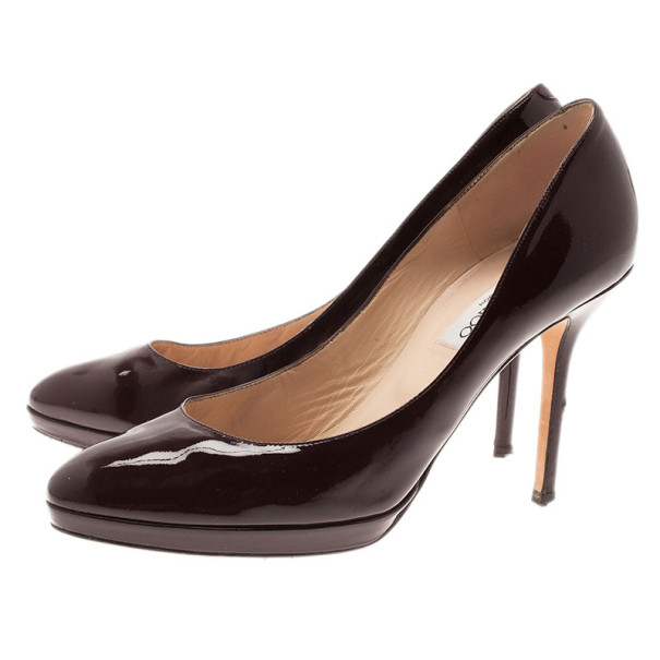 Jimmy Choo Burgundy Patent Leather Aimee Pumps Size 39