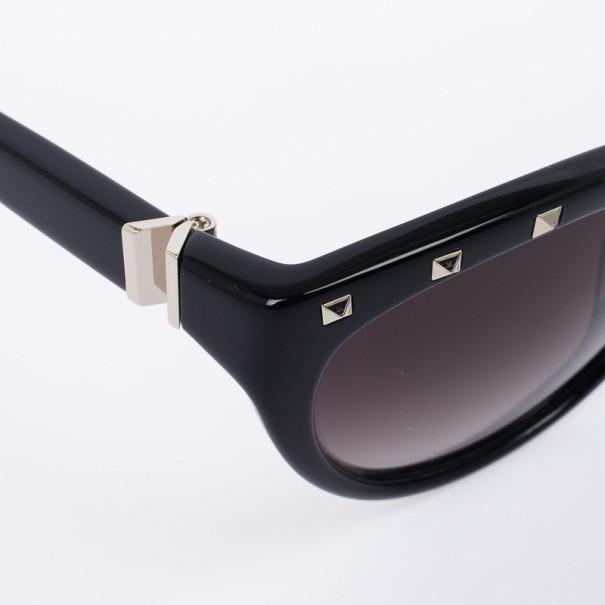 Valentino Black 641S Studded Cat Eye Womens Sunglasses