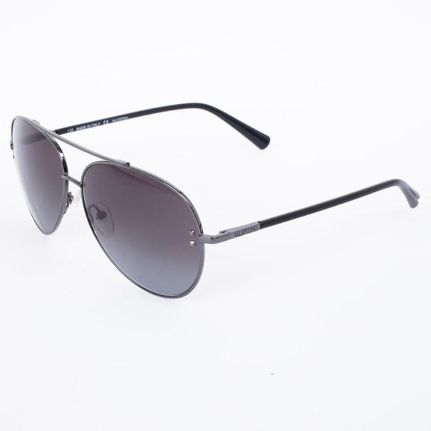 Valentino Dark Gunmetal 106S Aviator Womens Sunglasses
