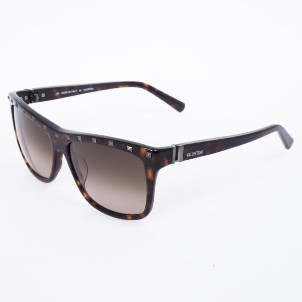 Valentino Brown 606S Studded Oversize Womens Sunglasses